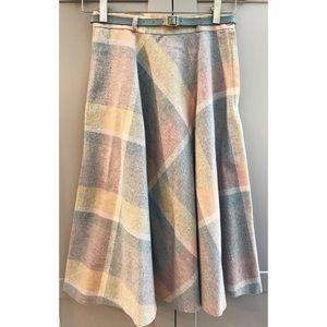 Vintage 70's Pastel Plaid Midi Circle Skirt
