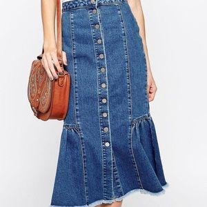 ASOS Mermaid Denim Skirt S, US4, UK8