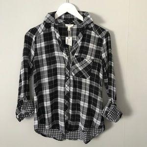 JOIE NWT Soft Flannel Button Down Black White XXS