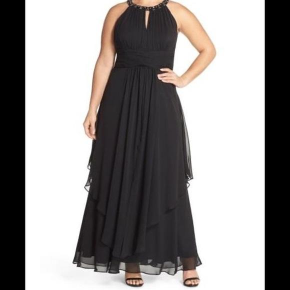 Eliza J Dresses | 8 Embellished Tiered Chiffon Halter Gown | Poshmark