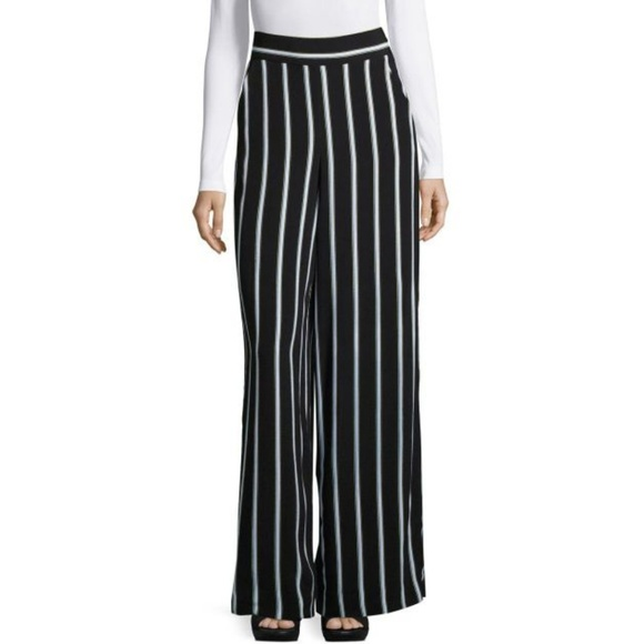 1. State Pants - 1. State striped wide leg black pants