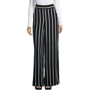 1. State striped wide leg black pants