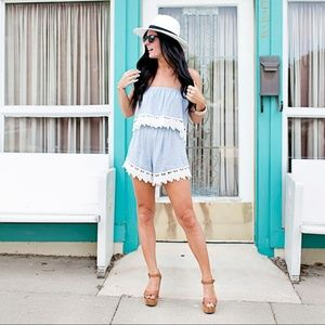 Audrey 3+1 chambray and lace romper