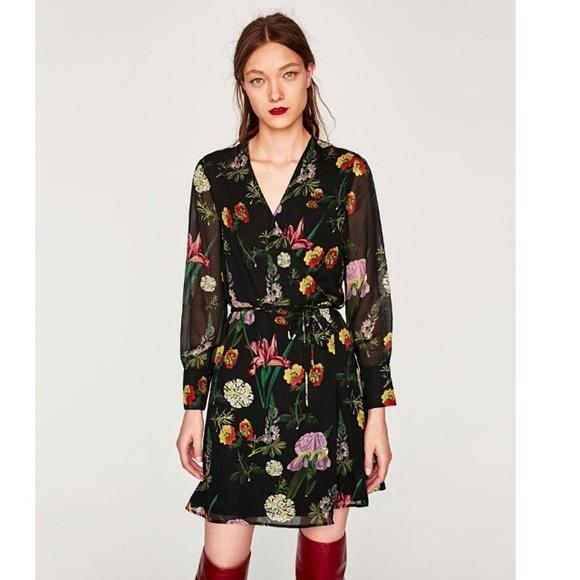011079bb097 Zara black long sleeve floral wrap dress. M 59bc2017620ff7201e004011