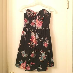 Black and floral strapless dress