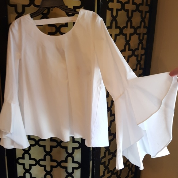 3a295971381217 Soprano Tops | White Bell Sleeve Cotton Blouse | Poshmark