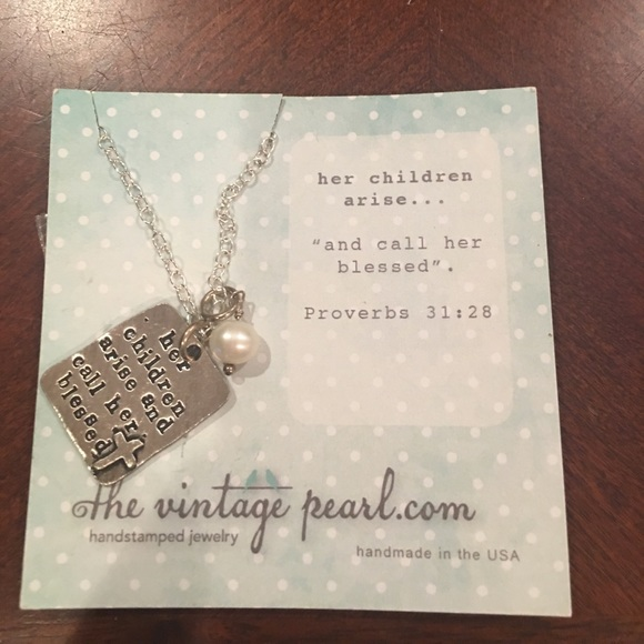 Bible verse Hand stamped necklace Proverbs 31:28 NWT