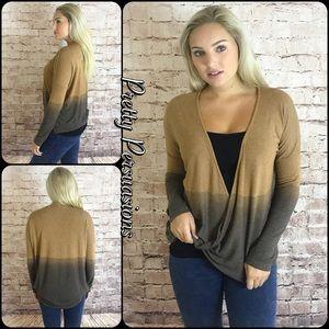 NWT Ombré Camel Brown Surplice Sweater