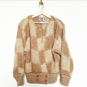 Anne Klein Tan Wool Open Front Cardigan Sweater
