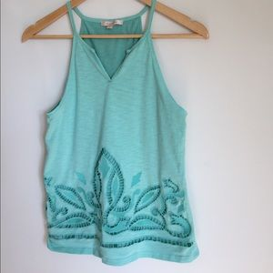 Stitch fix cutout double layer high neck tank