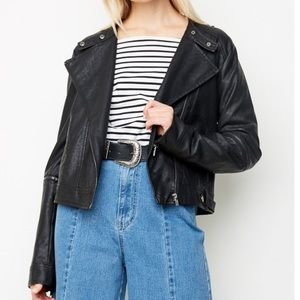 🆕Adalyn Black Vegan Leather Moto Jacket
