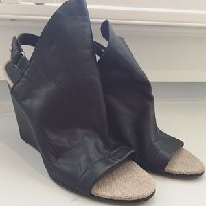 Vince Black Leather Wedges