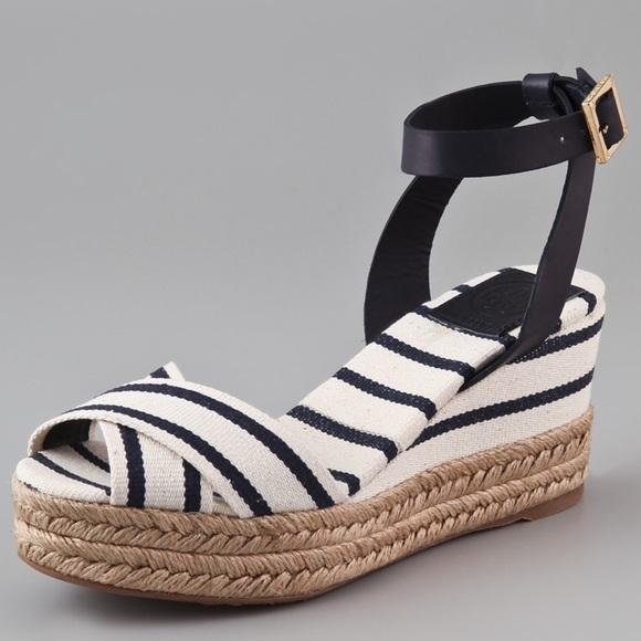 579a8da4e Tory Burch Karissa Wedge Espadrille Sandals. M 59bc495a2fd0b7db0c00dd56