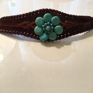 Real leather turquoise cuff bracelet!