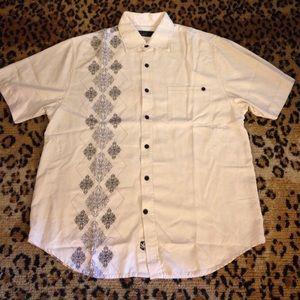 Nat Nast White & Navy Diamond Silk Shirt M