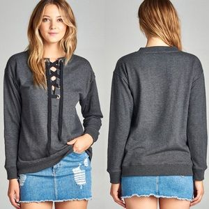 Tops - Long Sleeve Round Neck Lace Up Top