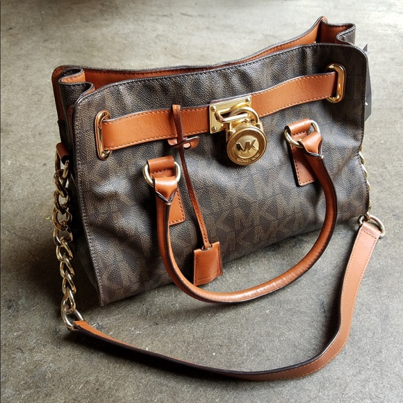 4b0469bf7df395 Michael Kors Bags | Hamilton Mk Logo Satchel Bag | Poshmark
