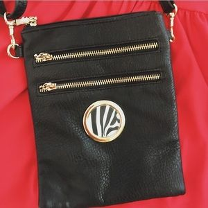 Handbags - NWOT Black Zebra Crossbody Bag