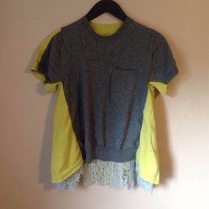 Colorblock gray lace chartreuse sweater tee Sacai