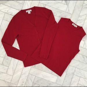 Brooks Brothers red wool cardigan set LIKE NEW
