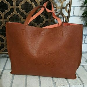 Street Level Reversible Faux Leather Tote Handbag