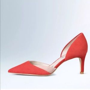 Boden Red VIENNE mid heel pumps Sz 37 retail $148