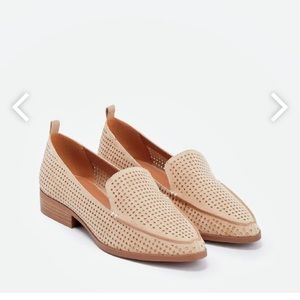 JustFab Taupe Perforated Loafers - 7.5 - Run Big