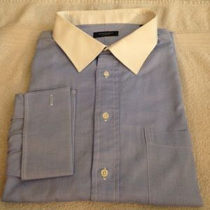 Burberry Blue White Collar French Cuff Shirt 19-35