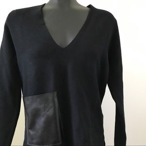 Black V-Neck Leather Pocket Sweater by ZARA