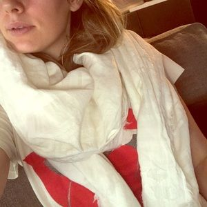 Large White Cotton Scarf and Travel Wrap