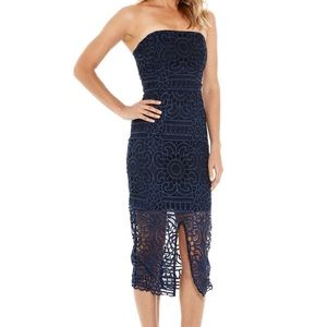 NWT AMAZING lace gown Nicholas Size 6. Navy