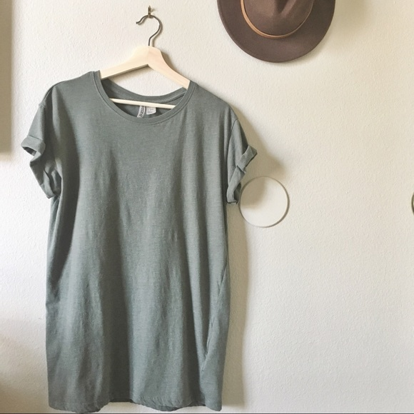 f7627608b576b H M Dresses   Skirts - H M olive green T-shirt dress