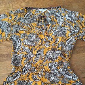 Mango yellow print silk Trina Turk blouse, M