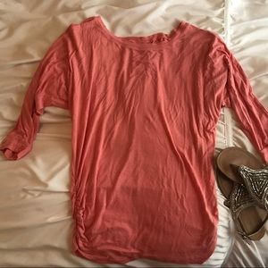 Pink boat neck top with side ruching