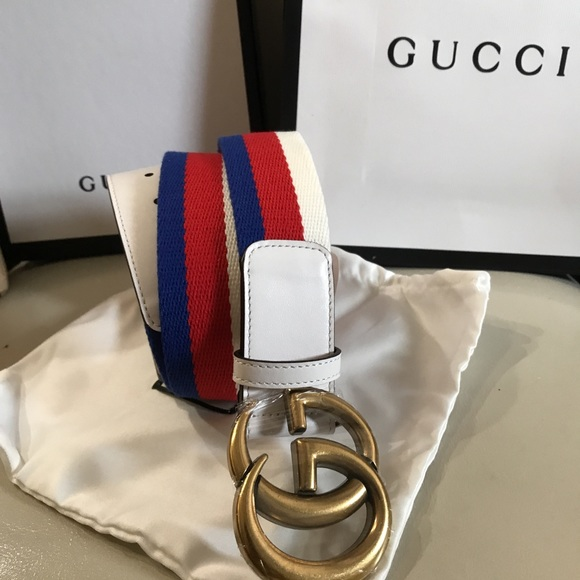 c44117cc24a Gucci Other - Gucci White Red Blue GG Belt