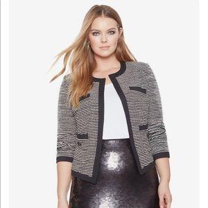 Collarless Striped Jacket
