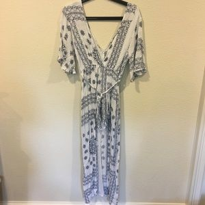 Reverse blue and white maxi wrap dress