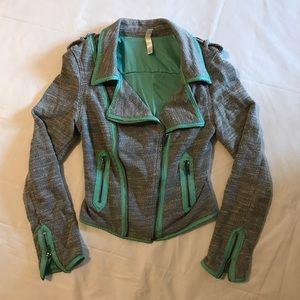 Xhilaration Moto Jacket Gray with Teal XS