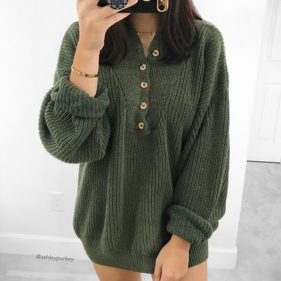 f3626b4c84 Claybrooke Outdoors Sweaters - vintage olive green button oversized knit  sweater