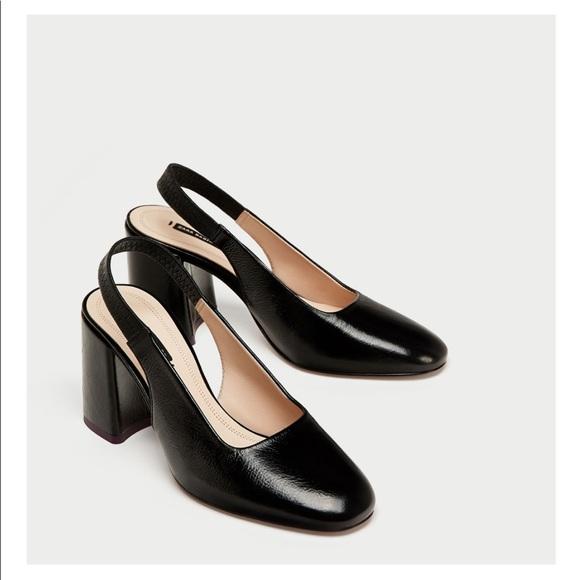 1b34a62262d Zara Leather Sling Back Block Heels!!!