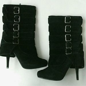 Charlotte Russe Faux Suede Boots With Buckles