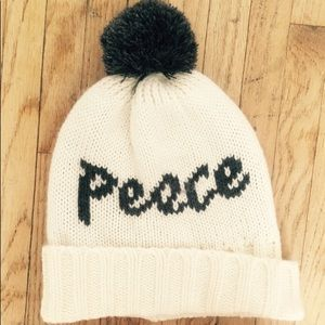 "Gap ""Peace"" Cozy puff ball beanie"