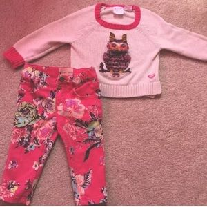 Roxy Baby Owl Pull Over Sweater & Jeans Set Sz 18M