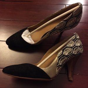 Sezane Gold Embroidered Boston Low Heels