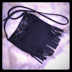 Deux Lux - black fringe bucket bag- EUC