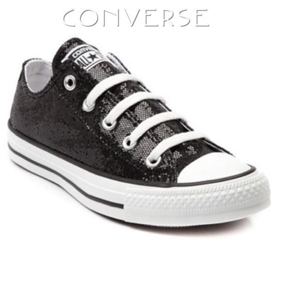 New Converse Black Glitter Low Tops NWT