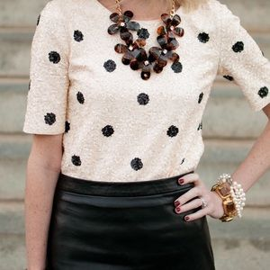 J. CREW Polka Dot Sequin Top