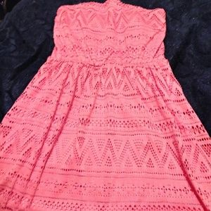 Strapless dress coral color