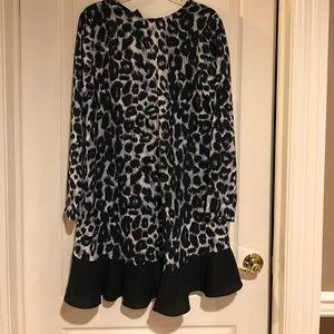 🆕Rachel Zoe Black gray leopard long sleeve dress