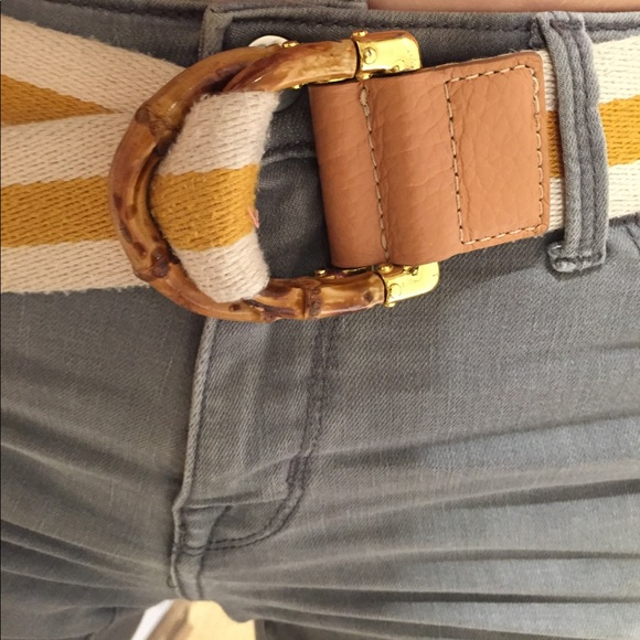 125243f21 Gucci Accessories | Bamboo D Ring Gold Cream Web Belt | Poshmark